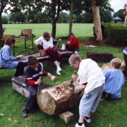 Pupils learning carving