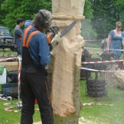 Ben Carving the Mad Hatter at Wierd and Wonderful Wood 2014